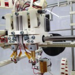 Dual extruders, front view - water cooled hotend insulators